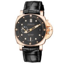 Panerai Roséguld Automatisk Svart 42mm ny Luminor Submersible