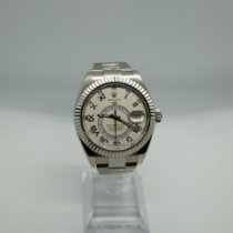 Rolex Or blanc Remontage automatique Blanc Romains 42mm occasion Sky-Dweller
