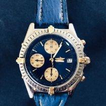 Breitling Chronomat gebraucht 39mm Blau Chronograph Datum Haifischleder