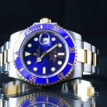 Rolex Submariner Date gebraucht 40mm Blau Datum Gold/Stahl