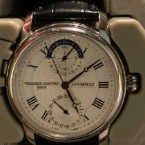 Frederique Constant Manufacture pre-owned 42mm Silver Date Crocodile skin