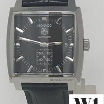 TAG Heuer Steel Automatic Black No numerals 37mm pre-owned Monaco Calibre 6