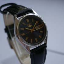 Seiko 5 Steel 34mm Black No numerals