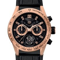 TAG Heuer Rose gold Automatic Black No numerals 45mm new Carrera Heuer-02T