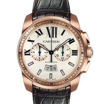 Cartier Calibre de Cartier Chronograph Rose gold 42mm Silver Roman numerals