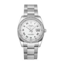 Rolex Oyster Perpetual Date Acier 34mm Blanc Romain
