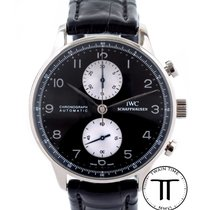 IWC White gold Automatic Black Arabic numerals 41mm pre-owned Portuguese Chronograph