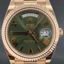 Rolex Day-Date 40 Or rose 40mm Vert Romain