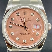 Rolex Datejust Stal 36mm Różowy Bez cyfr