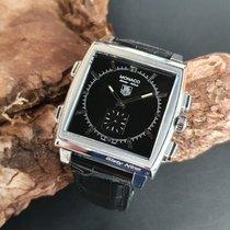 TAG Heuer Monaco gebraucht 40mm Schwarz Chronograph Ewiger Kalender Wecker GMT/Zweite Zeitzone Krokodilleder