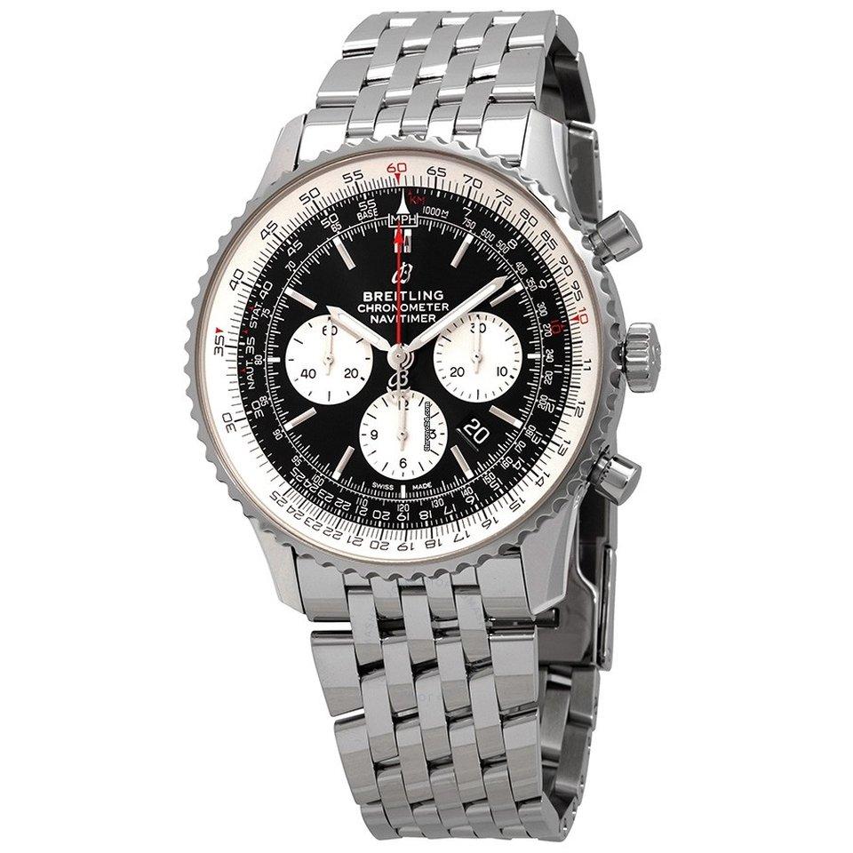 Breitling navitimer 1 quadrante nero acciaio automatico mens watch ab0127211b1a1