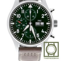 IWC Pilot Chronograph Steel 43mm Green Arabic numerals