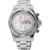 Breitling Super Avenger II pre-owned White Chronograph Date Steel