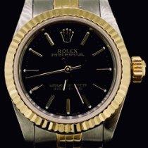 Rolex Oyster Perpetual 26 Aur/Otel 26mm Negru Fara cifre
