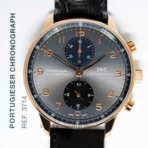 IWC Rose gold Automatic Grey 40mm pre-owned Portuguese Chronograph