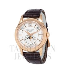 Patek Philippe Annual Calendar pre-owned 40mm Silver Moon phase Date Month Annual calendar Buckle