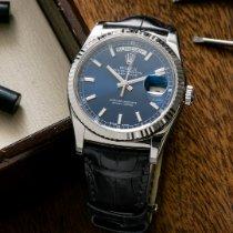 Rolex Day-Date 36 Oro blanco 36mm Azul Sin cifras