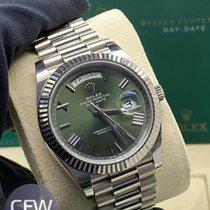 Rolex Day-Date 40 Oro blanco 40mm Verde Romanos