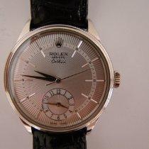 Rolex Cellini Dual Time Bílé zlato 39mm Stříbrná Bez čísel