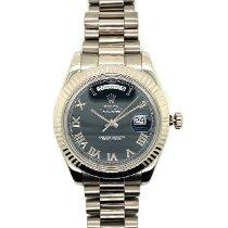Rolex Day-Date II Weißgold 41mm Silber Keine Ziffern