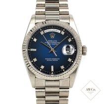 Rolex Day-Date 36 Witgoud 36mm Blauw Geen cijfers Nederland, Amsterdam