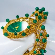 "Piaget Or jaune Remontage manuel Malachite Dial Open Work Textured ""Manchette"" Bangle Watch nouveau"
