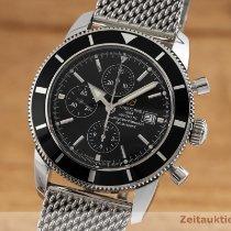 Breitling Superocean Héritage Chronograph gebraucht 46mm Schwarz Chronograph Datum Stahl