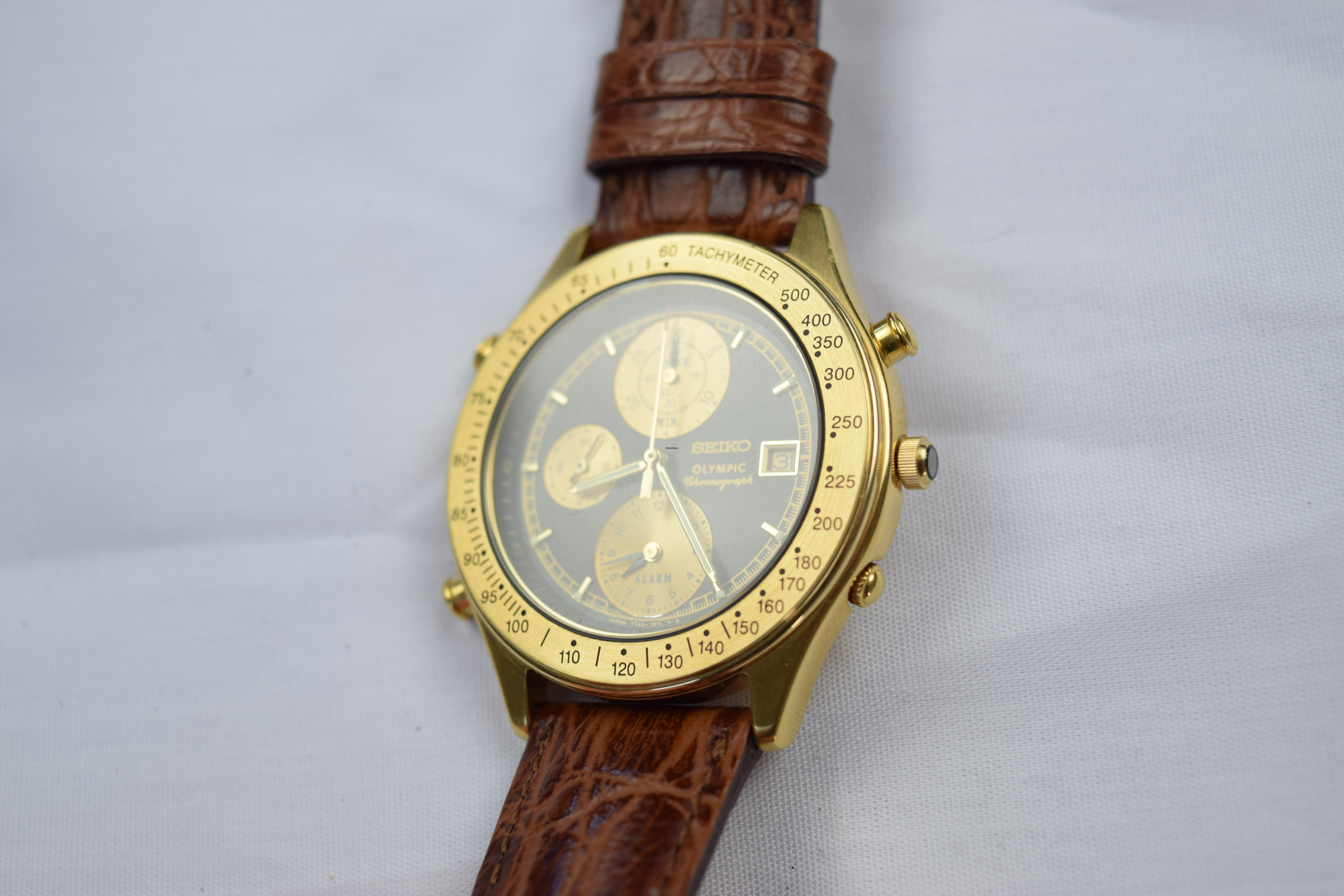 Seiko Olympic 7T42 7A5A Vintage Quartz Gold Plated Steel
