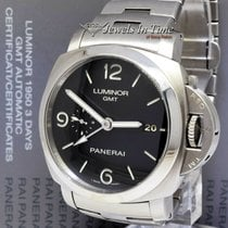 Panerai Steel Automatic Black 44mm pre-owned Luminor 1950 3 Days GMT Automatic
