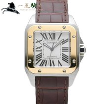 Cartier Steel Automatic Silver 51.1mm pre-owned Santos 100