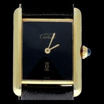 Cartier Tank Vermeil Argent 24mm Noir Sans chiffres