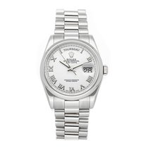 Rolex Platinum Automatic White Roman numerals 36mm pre-owned Day-Date 36