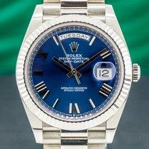 Rolex Day-Date 40 usados 40mm Azul Fecha Oro blanco