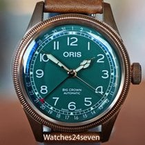 Oris Big Crown Pointer Date pre-owned 20mm Green Date Leather