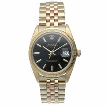 Rolex Yellow gold Automatic Black 34mm pre-owned Oyster Perpetual Date
