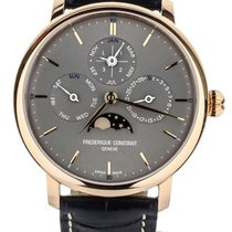 Frederique Constant Rose gold Automatic Grey 42mm pre-owned Manufacture Slimline Perpetual Calendar