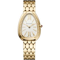 Bulgari Yellow gold Quartz White Roman numerals 33mm new Serpenti