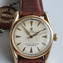 Rolex Red gold Automatic Silver No numerals 34mm pre-owned Oyster Perpetual