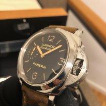 Panerai Luminor Marina 1950 3 Days gebraucht 47mm Schwarz Leder