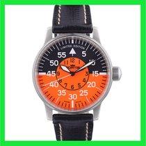 Fortis Flieger Steel 40mm Orange Arabic numerals