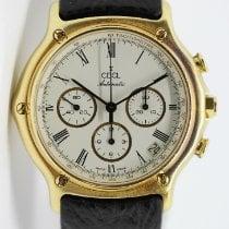 Ebel 1911 gebraucht 38mm Weiß Chronograph Datum Leder