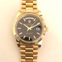 Rolex Day-Date 40 gebraucht 40mm Schwarz Datum Gelbgold