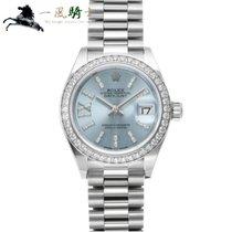 Rolex Platin Automatik Blau 28mm gebraucht Lady-Datejust