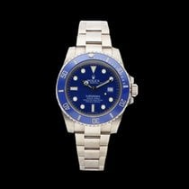 Rolex Submariner Date pre-owned 40mm Blue Date White gold
