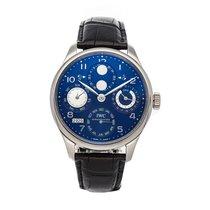 IWC Portuguese Perpetual Calendar pre-owned 44.2mm Blue Moon phase Date Month Perpetual calendar Crocodile skin