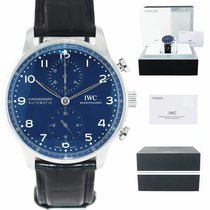 IWC Portuguese Chronograph pre-owned 41mm Blue Chronograph Year Leather