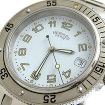 에르메스 클리퍼 스틸 38mm 흰색 아라비아 숫자