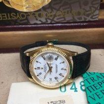 Rolex Oyster Perpetual Date Gelbgold 34mm Silber Keine Ziffern