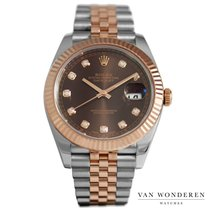 Rolex Or rose Remontage automatique Brun 41mm occasion Datejust II