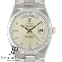 Rolex Day-Date Oysterquartz Witgoud 36mm Wit Geen cijfers